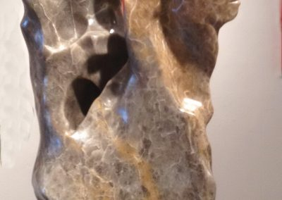 Complicité VII, la danse, Albâtre IDLM, acier, granit(16x9x7po)