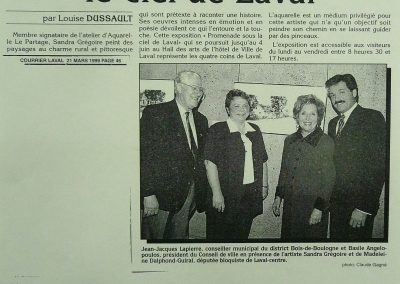 2-1999  SOUS LE CIEL DE LAVAL,  Exposition solo Hotel de ville Laval