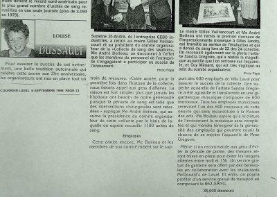 3-1999  CLINIQUE DE SANG DU MAIRE  Ville de Laval, 35,000e  donneur