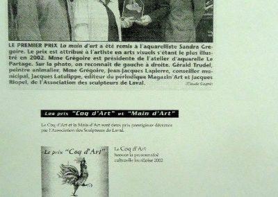 4-2002 LA MAIN D`ART, Récipiendaire Artiste créateur reconnue par ses pairs, Laval
