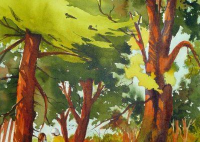 Randonnée en forêt III, le rendez-vous(30x15po)